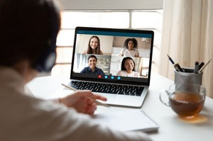 Man on video conference